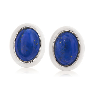 Lapis and White Agate Earrings in Sterling Silver
