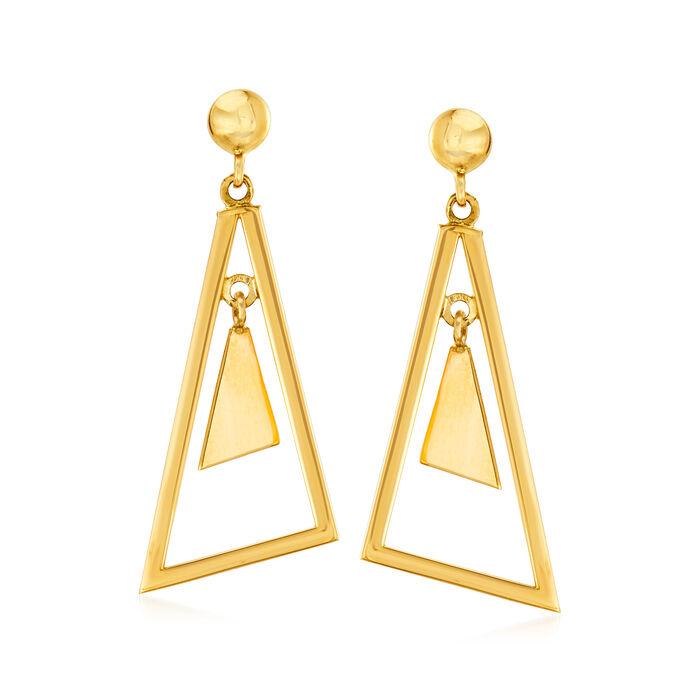 14kt Yellow Gold Multi-Triangle Drop Earrings