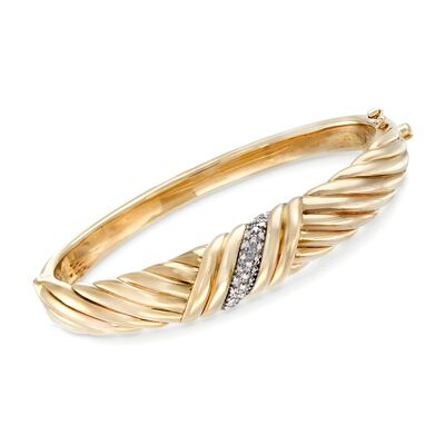 .12 ct. t.w. Diamond Sash Bangle in 14kt Yellow Gold , , default