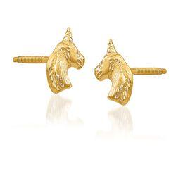 14kt Yellow Gold Polished Unicorn Stud Earrings, , default