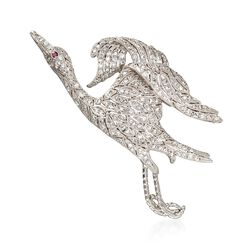 C. 1970 Vintage 1.00 ct. t.w. Pave Diamond Soaring Swan Pin With Ruby Accent in Platinum, , default