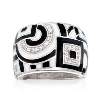 """Belle Etoile """"Geometrica"""" Dome Ring With CZ Accents in Sterling Silver. Size 7, , default"""