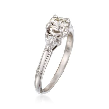 C. 2000 Vintage .94 ct. t.w. Diamond Three-Stone Engagement Ring in 14kt White Gold. Size 7.25, , default