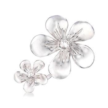 Italian Double-Flower Ring in Sterling Silver, , default