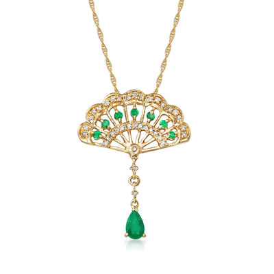 .20 Carat Emerald and .18 ct. t.w. Diamond Fan-Shaped Drop Necklace in 14kt Yellow Gold, , default