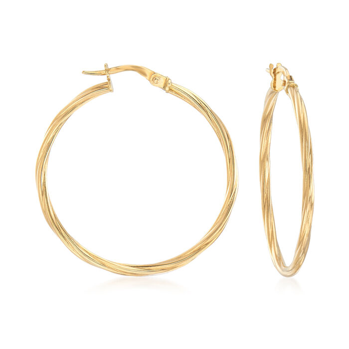 "Italian 18kt Yellow Gold Twisted Hoop Earrings. 1 1/4"", , default"