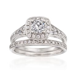 1.13 ct. t.w. Diamond Bridal Set: Square Halo Engagement and Wedding Rings in 14kt White Gold, , default