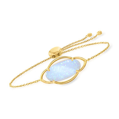Simulated Opal Bolo Bracelet in 18kt Gold Over Sterling