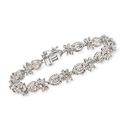 1.50 ct. t.w. Diamond Floral Bracelet in Sterling Silver