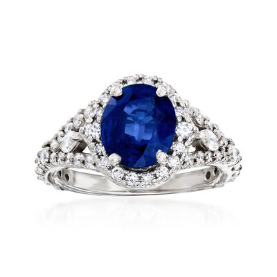 2.10 Carat Sapphire and 1.00 ct. t.w. Diamond Halo Ring in 14kt White Gold