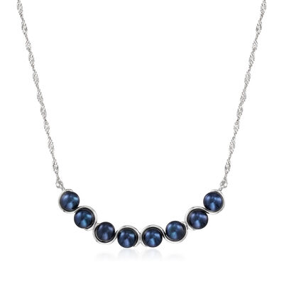 5.5-6mm Black Cultured Pearl Necklace in Sterling Silver
