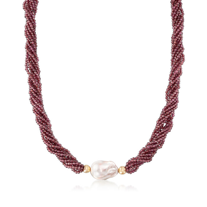 Cultured Baroque Pearl and 43.00 ct. t.w. Garnet Necklace in 14kt Yellow Gold, , default