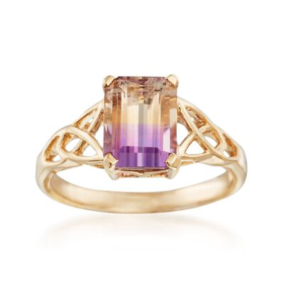 1.90 Carat Ametrine Celtic Style Ring in 14kt Yellow Gold, , default