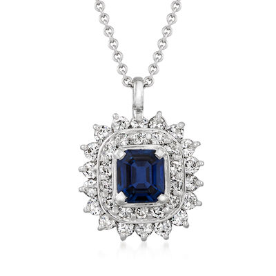 C. 1980 Vintage .69 Carat Sapphire and .64 ct. t.w. Diamond Pendant Necklace in Platinum and 18kt White Gold