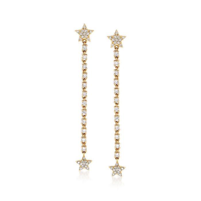 .52 ct. t.w. Star Post Diamond Drop Earrings in 14 kt Yellow Gold, , default