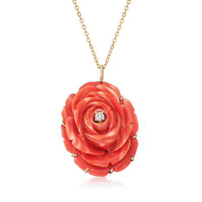 C. 1960 Vintage Coral and .15 Carat Diamond Pin Pendant Necklace in 14kt Yellow Gold, , default