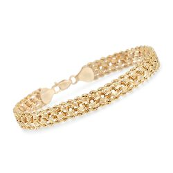 14kt Yellow Gold Rope and Circle Link Bracelet, , default