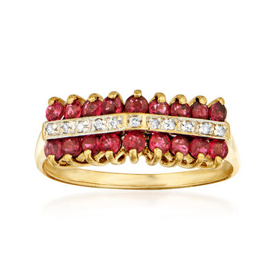 C. 1970 Vintage 1.80 ct. t.w. Ruby and Diamond-Accented Ring in 10kt Yellow Gold, , default