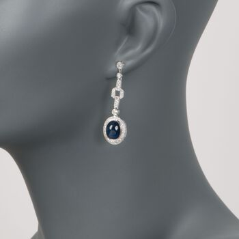 C. 2000 Vintage 7.50 ct. t.w. Sapphire and 1.75 ct. t.w. Diamond Earrings in 18kt White Gold, , default