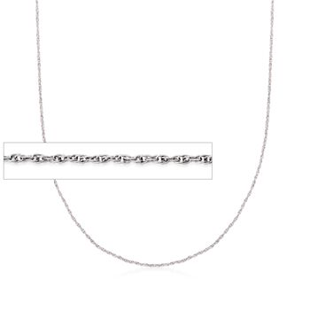 "1mm 18kt White Gold Rope Chain Necklace. 18"", , default"