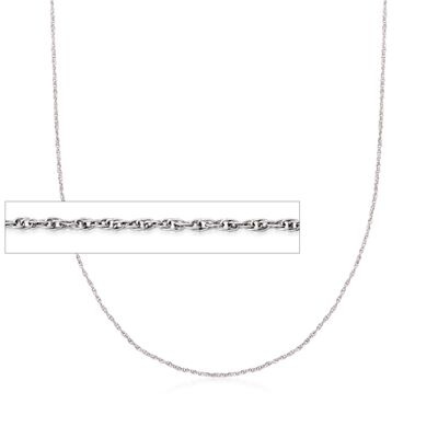 1mm 18kt White Gold Rope Chain Necklace, , default