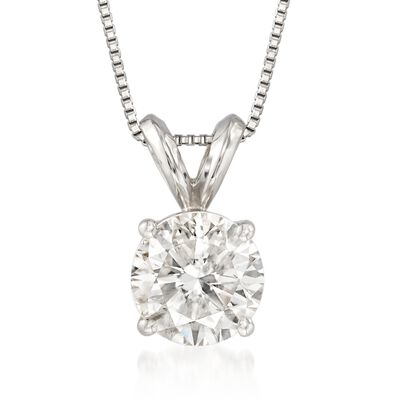 1.00 Carat Diamond Solitaire Necklace in Platinum, , default