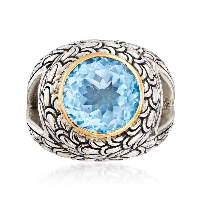 2.40 Carat Sky Blue Topaz Scrollwork Ring in Sterling Silver and 18kt Yellow Gold