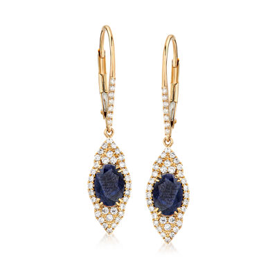 2.20 ct. t.w. Sapphire and .45 ct. t.w. Diamond Drop Earrings in 14kt Yellow Gold