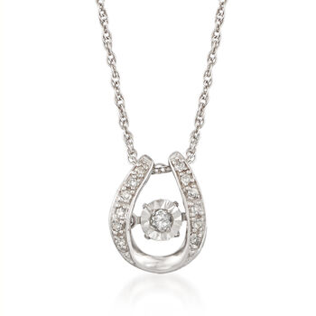 """Floating Diamond-Accented U-Shaped Pendant Necklace in Sterling Silver. 18"""", , default"""