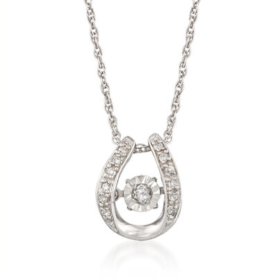 Floating Diamond-Accented U-Shaped Pendant Necklace in Sterling Silver, , default