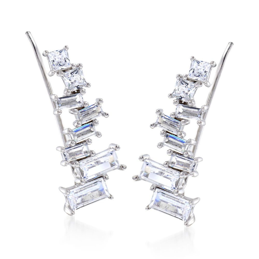 Sterling Silver Baguette /& Round CZ Stones Climbing Earrings