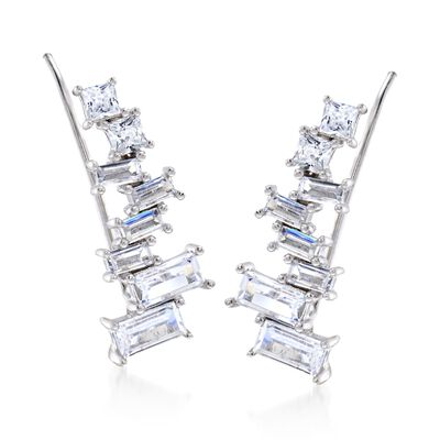 2.85 ct. t.w. Baguette and Princess-Cut CZ Ear Climbers in Sterling Silver