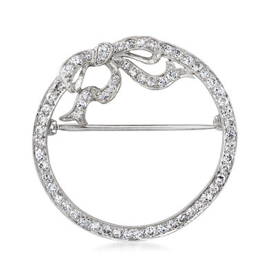 C. 1950 Vintage 1.50 ct. t.w. Diamond Circle with Bow Pin in Platinum, , default