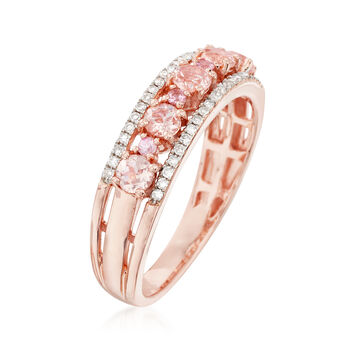 .45 ct. t.w. Morganite Ring with Diamonds and Pink Sapphires in 18kt Rose Gold Over Sterling