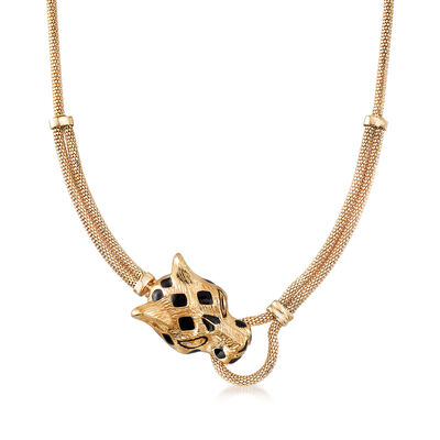 18kt Yellow Gold Black Enamel Panther Necklace, , default