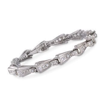 "C. 1950 Vintage 2.40 ct. t.w. Diamond Geometric Link Bracelet in Platinum. 7"", , default"