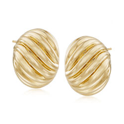 Andiamo 14kt Yellow Gold Ribbed Earrings, , default