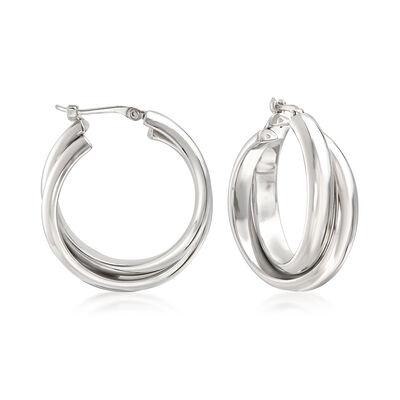 Sterling Silver Double Hoop Earrings, , default