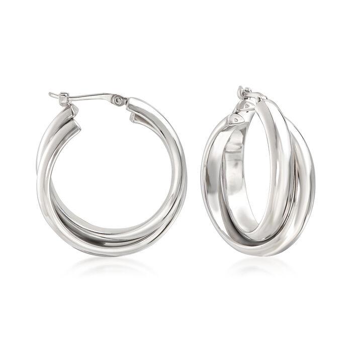 """Sterling Silver Double Hoop Earrings. 7/8"""", , default"""