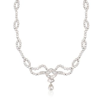 "C. 1990 Vintage 11.17 ct. t.w. Multi-Cut Diamond Necklace in Platinum. 17.5"", , default"