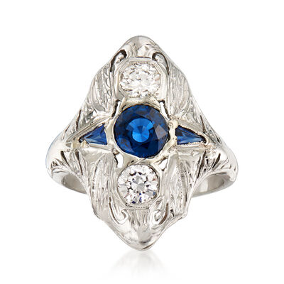 C. 1990 Vintage .60 Carat Sapphire and .40 ct. t.w. Diamond Ring with Synthetic Sapphire Accents in 18kt White Gold, , default