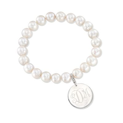 8-8.5mm Cultured Pearl Bracelet With Sterling Silver Personalized Disc Charm, , default