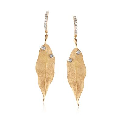 Simon G. .20 ct. t.w. Diamond Leaf Drop Earrings in 18kt Yellow Gold, , default