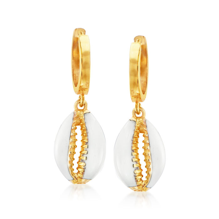 Puka Shell Drop Earrings in 18kt Gold Over Sterling with White Enamel