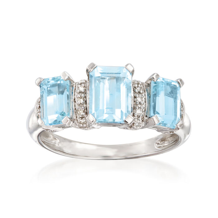 2.30 ct. t.w. Sky Blue Topaz Ring with Diamond Accents in Sterling Silver