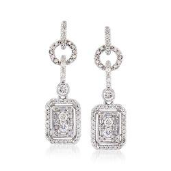 .93 ct. t.w. Diamond Geometric Drop Earrings in 14kt White Gold, , default