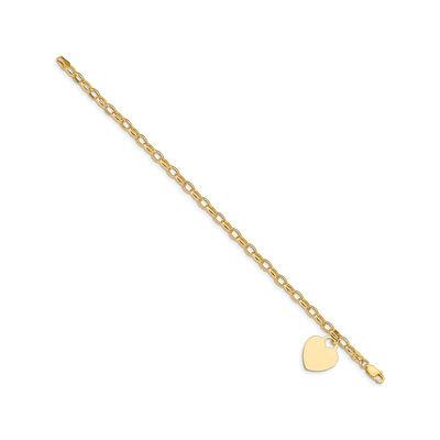 14kt Yellow Gold Heart Charm Bracelet, , default