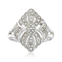 .13 ct. t.w. Diamond and Milgrain Openwork Ring in Sterling Silver, , default