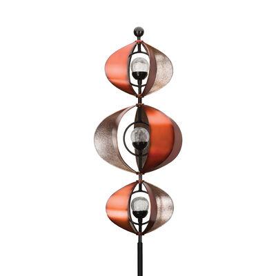 "Regal ""3 Orb"" Solar Metal Outdoor Wind Spinner, , default"