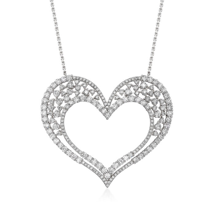 5.55 ct. t.w. Diamond Open Heart Necklace in 14kt White Gold